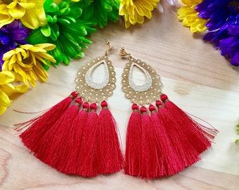 Silk Tassel earrings/ Red Earrings/ Chandelier Earrings/ Long Earrings/ Fashion Earrings/ Boho-Chic earrings/ Statement Earrings/ Pendants