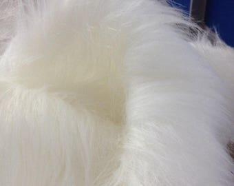 "White Faux Long Pile Fur Fabric Toys Costumes Width 59"" (150 cm)"