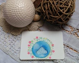 """Postcard """"droplet"""" original card, handmade, watercolor"""