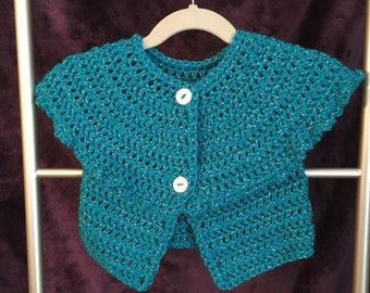 Turquoise Toddler Girl Crochet Sweater