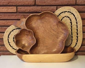 Vintage Hand Carved Monkey Pod Grape Bunch Serving Platter & Oblong Bowl/Tray