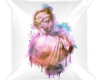 Bust of a Noble Woman Square Pillow | Portraiture | Sculpture | Gift Idea