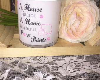 Paw prints quote candle, Dog Lover, Cat Lover, Gift for an animal lover, Soy Candles, Quotes