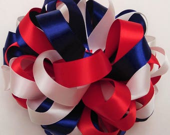 Red, white and navy blue hair bow