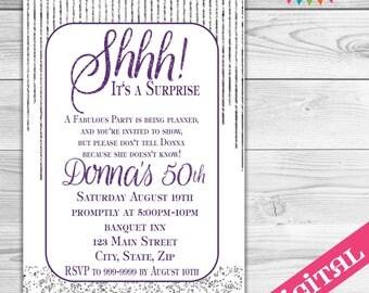 DIGITAL Surprise Birthday invitation, Purple and Silver invitation