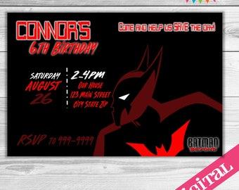 DIGITAL Batman Beyond party invitation