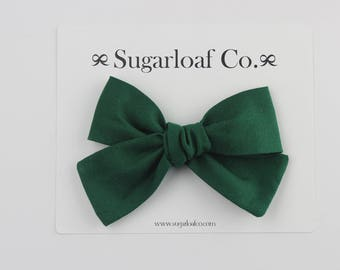 Lolli Bow | Evergreen | Hand Tied Bow on a Stretchy Nylon Headband or Alligator Clip