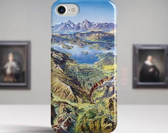 "Heinrich Berann, ""Yellowstone National Park"". iPhone 8 Case Art iPhone 7 Case iPhone 6 Plus Case and more. iPhone 8 TOUGH cases."