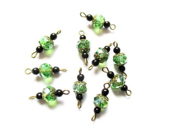 lot 10 connectors beads green and black metal bronze N22