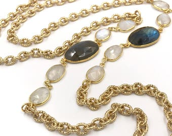 Long labradorite and moonstone gold chain necklace, Labradorite necklace, Moonstone necklace, Labradorite jewelry, Moonstone jewelry