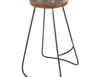 Edison Reclaimed Wood and Iron Stool