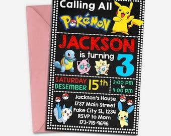Pokemon Invitation/ Pokemon Cards/ Pokemon Birthday/ Pokemon Birthday Invitation/ Pokemon Invites/ Pokemon Invites/ Pokemon Party