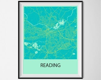 Reading Map Poster Print - Blue and Yellow