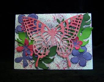 Any occasion card, blank card, floral card, butterfly card, handmade card, homemade card