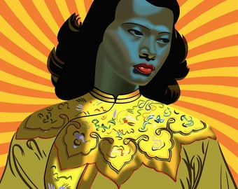 Tretchikoff's Chinese Girl Psychedelic. Fine Art Giclée Print [400mm × 500mm / 16in × 20in]