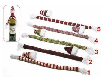 A colorful wool scarf and hat set for CHRISTMAS 2 bottle)