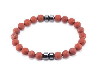 Red Jasper Hematite Men's Bracelet