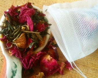 Tea, Rose Garden, green tea, loose leaf tea, hand blended, perfect gift for tea lover/foodie