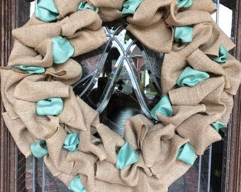 18 in. Burlap wreath with accent ribbon