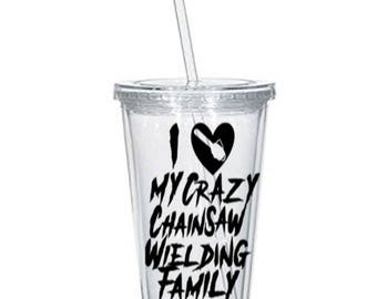 Chainsaw Family Crazy Horror Tumbler Cup Gift Home Decor Gift for Her Him Any Color Personalized Custom