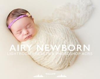 Bright & Airy Newborn Lightroom Preset and Newborn Photoshop Camera Raw Filter to achieve dreamy Newborn Photo Editing Results