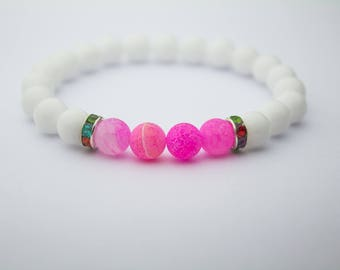 Naturel stone bracelet, 8mm white pink body jewelry