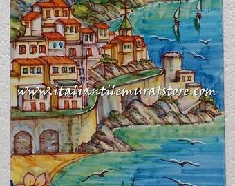 Decorative tile garden Amalfi. Mosaic hand painted. Beautifull landscape tile. Tile customized. Tiles art backsplash. Decorative tiles