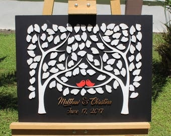 Fast Shipping 3d Wedding Guest Book Alternatives Tree guest book Black and White  Custom wedding guest book rustic guest book