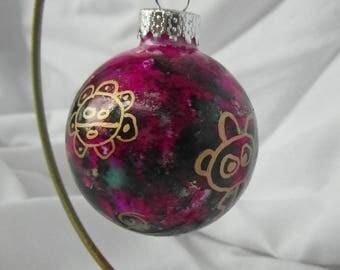 Puerto RicoChristmas glass ornament, taino petroglyphs