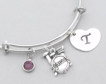 Drum kit charm bracelet with heart initial | personalised drums jewelry | drums bangle | drums gift | birthstone