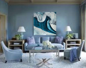 Wave, turqoise, blue and white 3ftx3ft