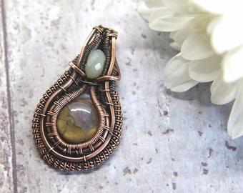 Heady Wire Wrapped Pendant, Rhyolite and Amazonite, Heady pendant, Hippy necklace, Rhyolite pendant, Amazonite pendant, Boho jewelry
