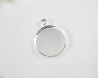 10 - 1 inch Blank Round Pendant Trays, Shiny Silver Plated Bezel Settings