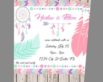 Boho/Dreamcatcher/Feather/Teen Birthday Invitation/Digital invite