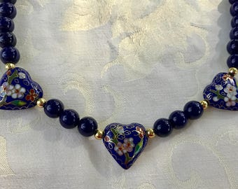 Midnight Blue Bead Necklace with Three Cloisonné Hearts