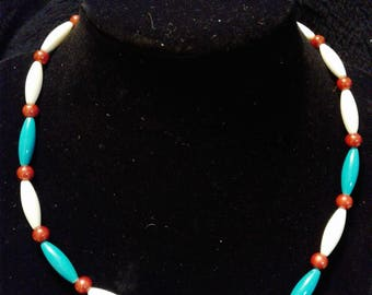 Red, White and Blue Beaded Necklace #103