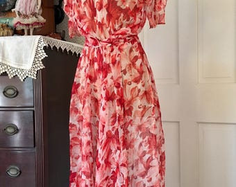1930's Silk Chiffon Red Floral Printed Dress