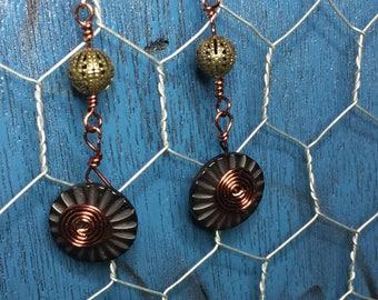 Copper Button Boho Earrings