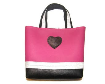 Raspberry girl faux leather bag