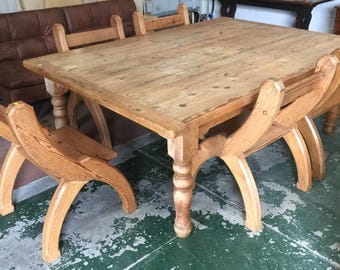 Large pine table with 5 gothic chairs