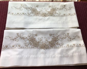 """2 Matching Vintage Pillow Cases with Cross Stitch Flowers 28 x 20"""""""
