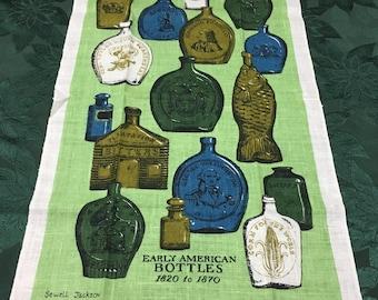 Vintage Kaydee Hand Printed Linen Tea Towel Early American Bottles Sewell Jackson  T22