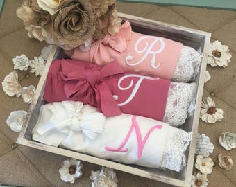 SALE!! bridesmaid robes set of 1, 2, 3, 4, 5, 6, 7, 8, 9, 10, 11, 12, bridesmaid gifts, cotton lace robes , getting ready robes, bridal
