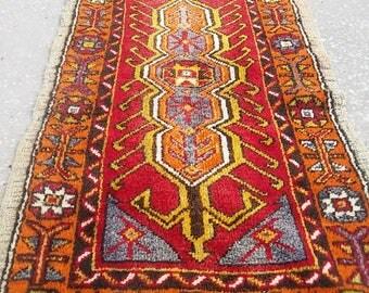 Oushak Rug,Vintage Turkish Small Rugs,Original motifs, Pale blue, Pastel colors, orange colors,2x4'3''feet,Home Living,Oushak Pillow Rug,