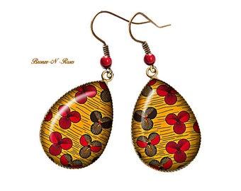 Boucles d'oreilles gouttes Fleurs bronze cabochon africain tissu wax motifs Ethniques