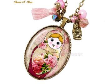 Matryoshka Russian doll necklace slave collar