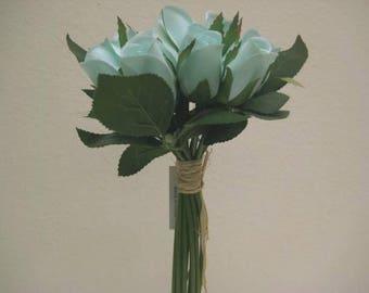 "AQUA Hand Tied Rose Bud 11"" Bouquet Artificial Silk Flower 12-5606AQ"