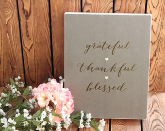 Grateful,Thankful,Blessed,Inspirational Quote,Framed Quotes,Framed Wall Art,Birthday Gift Her,Farmhouse Decor,Wood Signs,Rustic Wood Sign