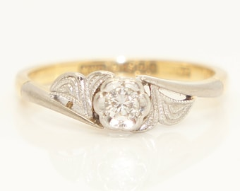 Vintage 18Ct Yellow Gold Solitaire Diamond Flower Engagement Ring, Size K 1/2