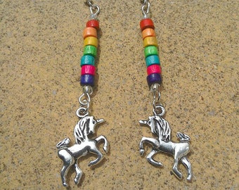 Rainbow bead silver unicorn of pride earrings